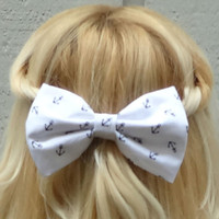 White and black anchor bow hair clip - big bow - bow barrette - nautical bow - kawaii - feminine