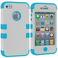 Amazon.com: White / Baby Blue Tuff Hybrid Premium Rugged Hard Soft Case Skin Cover for Apple iPhone 4 4G 4S: Electronics