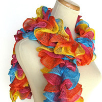 Circus Rainbow Hand Knit Ruffled Scarf  Orange by ArlenesBoutique