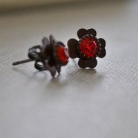 Red Siam Clover Post Earrings, Red Rhinestone and Brass Earrings, Flower Stud Earrings