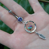dreamcatcher belly ring turquoise and amethyst purple stones in native american tribal boho hippie belly dancer and hipster style