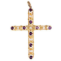Antique Cross with Amethyst & Pearls - The Three Graces