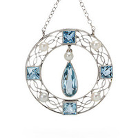 Aquamarine & Pearl Pendant Necklace - The Three Graces