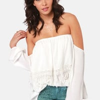 Tier Squad Off-the-Shoulder Ivory Lace Top