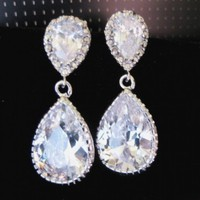 Cubic Zirconia Tear Drop Earrings WEDDING Bridal CZ Sparkling Prom