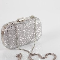 Beaded Clutch Bag With Gold Chain - Silver at Lucky 21 Lucky 21