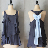 MISTY AURA - Romantic gray flowy tier blouse // pastel baby blue // chiffon sash bow // tunic // tank top // racerback
