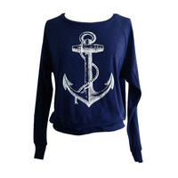 ANCHOR  Sweater - Nautical Sailor Sweater American Apparel SOFT vintage feel - Available in sizes S, M, L