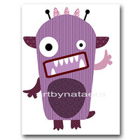"Childrens Art, Kids Wall Art Baby Boy Room Decor Baby Boy Nursery Decor Kids Art Baby Nursery print 8"" x 10""Print monsters Violet decoration"