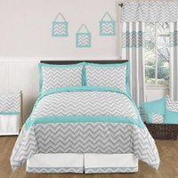Amazon.com: Turquoise and Gray Zig Zag Childrens and Kids Bedding - 3pc Full / Queen Set by Sweet Jojo Designs: Home & Kitchen