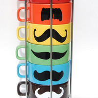 Multi Color Mustache Coffee Mugs - set of 6 stackable mugs and chrome holder - featured in PEOPLE magazine
