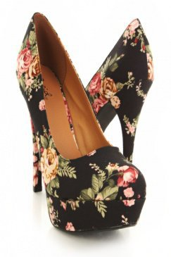 Black Floral Heels 
