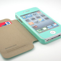 GnJ New Mint-green inner suede flip case cover+mint matte film for iPhone 4S 4G