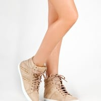 Soda CARMIA Street Casual Studded Lace Up High Top Flat Sneaker Shoe