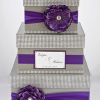 Card box / Wedding Box / Wedding money box - 3 tier - Personalized - Purple