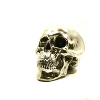 chrome skull head skulls metallic silver decor by nashpop on Etsy
