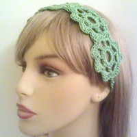 Light Green Headband for Spring or Summer, Five Flowers, Crochet
