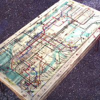 NYC Subway Map Coffee Table Made from Pallet Wood and Hairpin Legs