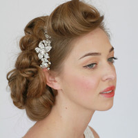 Vintage Style Wedding Headband. Vintage Ribbon Headband, Wedding Hair Accessory, Crystal Headband, Bridal Ribbon Headband - Style 226