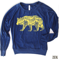 Womens California BEAR TriBlend Pullover  american by ZenThreads