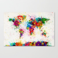 Map of the World Map Paint Splashes Stretched Canvas by ArtPause