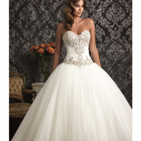 2013 Allure Bridal - White & Silver Satin & Organza Chapel Train Wedding Dress - Unique Vintage - Prom dresses, retro dresses, retro swimsuits.