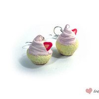 Polymer Clay Strawberry Cupcake Earrings