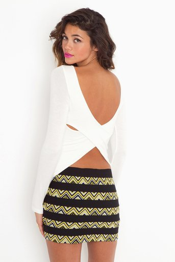 Double Cross Tee - Cream in Features Back In Stock at Nasty Gal