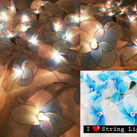 Blue tone Colour Set Nylon flower fairy String Lights For Wedding and House decoration (20 Flowers/Set)