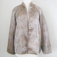 Paisley Print Satin Jacket with Raglan Sleeves - Size US 10