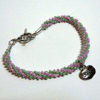 Pink and Green Beaded Kumihimo Bracelet with Love Charm, Handmade
