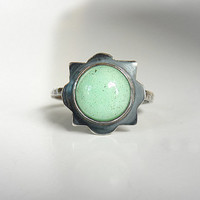 Handmade chrysoprase and sterling silver ring - bezel set ring - blackened silver ring - rustic artisan jewelry