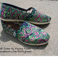 Handpainted Custom TOMS Shoes  Southwestern Design in by FancyToms