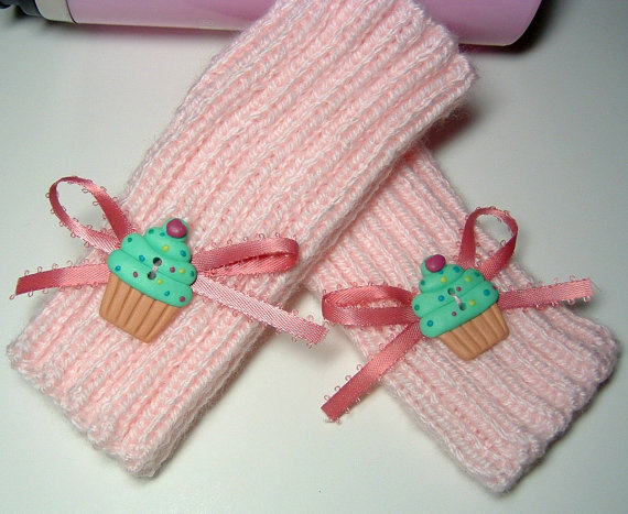 Ribbed Knit Fingerless Gloves in Sweetheart Pink by SewcialGraces