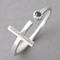 Sideways Cross Silver Ring Cross Wrap Around Ring Black CZ from Kellinsilver.com
