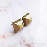 Brass Pyramid Earring Studs