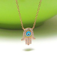 "Hamsa Hand Necklace-Sterling Silver Necklace With Hand Set CZ-16"" Plus"