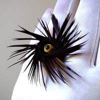 Handmade Feather Ring with Black Feather Spiral by FireGrog