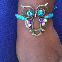 Retro Antique Bronze and Turquoise Owl Charm Bracelet Adjustable Arm Candy