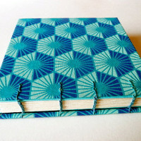 Journal/ Coptic Bound / Hexagon in Blues by valburgesscollage