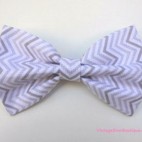 Grey chevron bow hair clip  big bow  bow by VintageBowBoutique