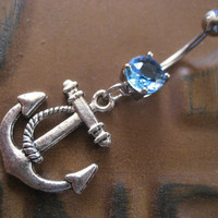 Aqua Anchor Belly Button Ring Jewelry Navel by Azeetadesigns
