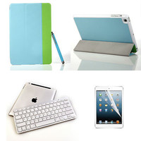Bluetooth Wireless Keyboard+Blue Slim PU Leather Stand Cover Case for iPad Mini