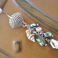Abalone Shell Belly Button Jewelry Ring- Paua Mother of Pearl Seashell Charm Dangle Navel Piercing