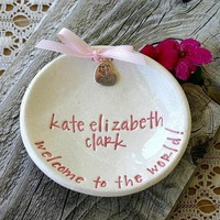 New Baby Keepsake Dish Ceramic Birth Announcement 