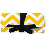 SALE Yellow and White chevron stripe clutch with navy bow. The ALEXIS Clutch.