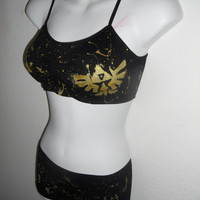 Legend of Zelda triforce sports bra and boy short SET by Stitch3d