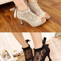Hot fashion New Sexy Lace Platform High Heel Women Stiletto Peep-toe Pumps Shoes