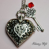 Etsy Transaction - Victorian Heart Shaped Pocket Watch Necklace, with a key and red crystal (Big Size)