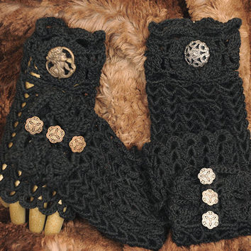 Lacy Black Gloves Fingerless and Romantic  1 Pair by SewcialGraces